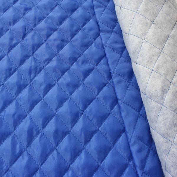 Steppstoff Futterstoff wattiert Rauten Klassik Royal-Blau