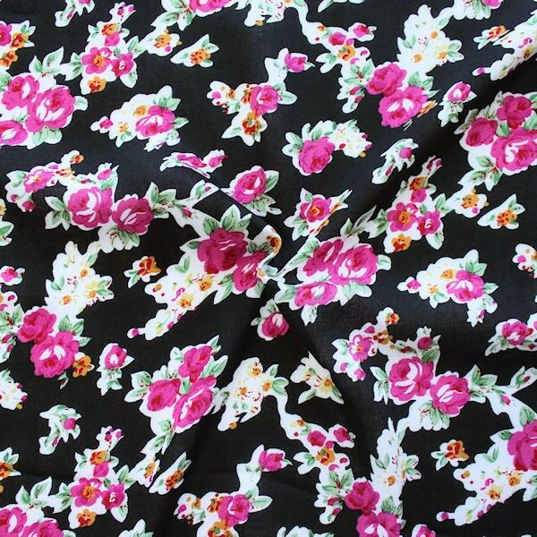 Viskose Javanaise Rosenblüten Schwarz-Pink