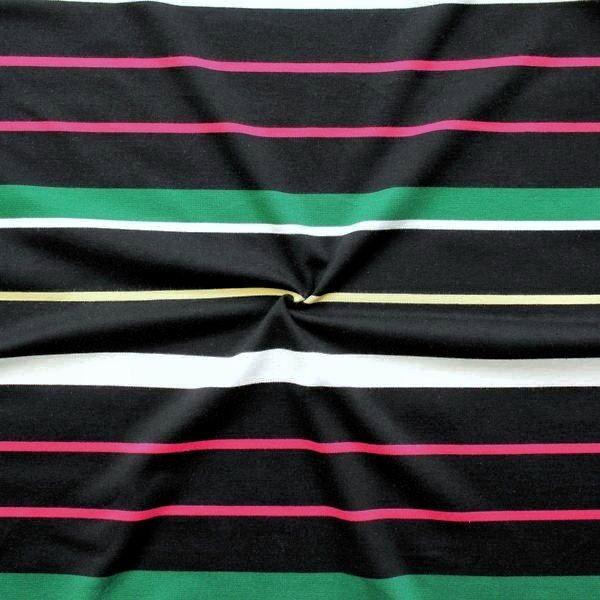 """Baumwoll Stretch Jersey """"Streifen Mix"""" Farbe Schwarz"""