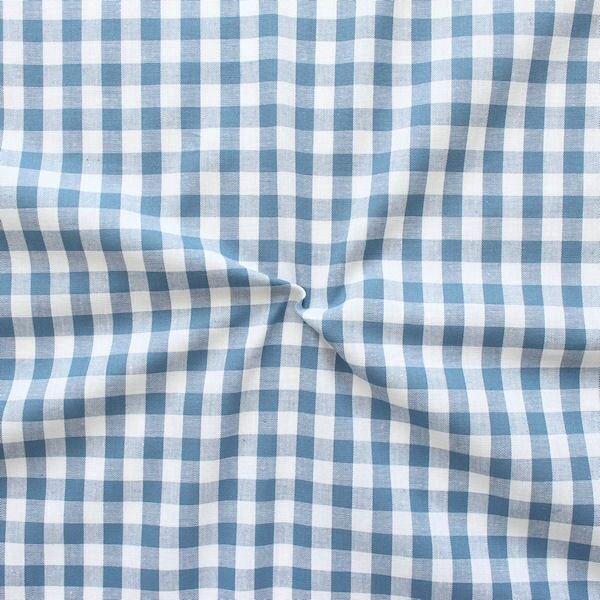 100% Baumwollstoff Züchen Vichy Karo groß Farbe Jeans-Blau Weiss