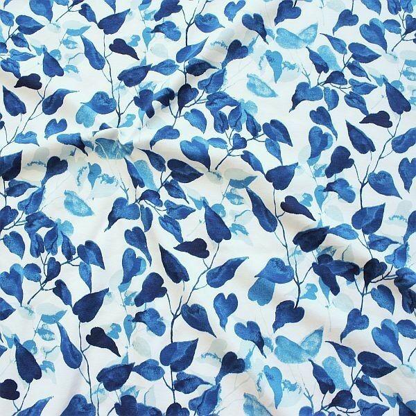 Baumwoll Stretch Jersey Herz Blätter Weiss-Blau