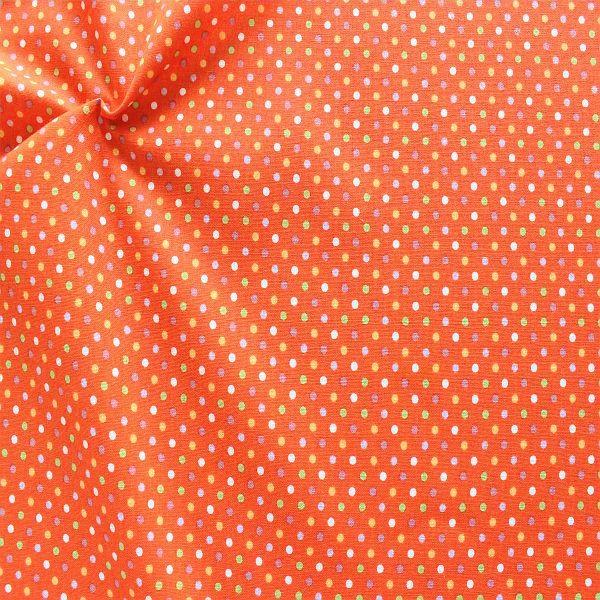 Baumwollstoff Bunte Punkte Orange