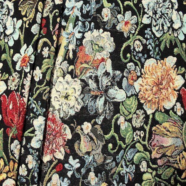 Gobelin Möbelstoff  Dekostoff Blumenpracht Schwarz