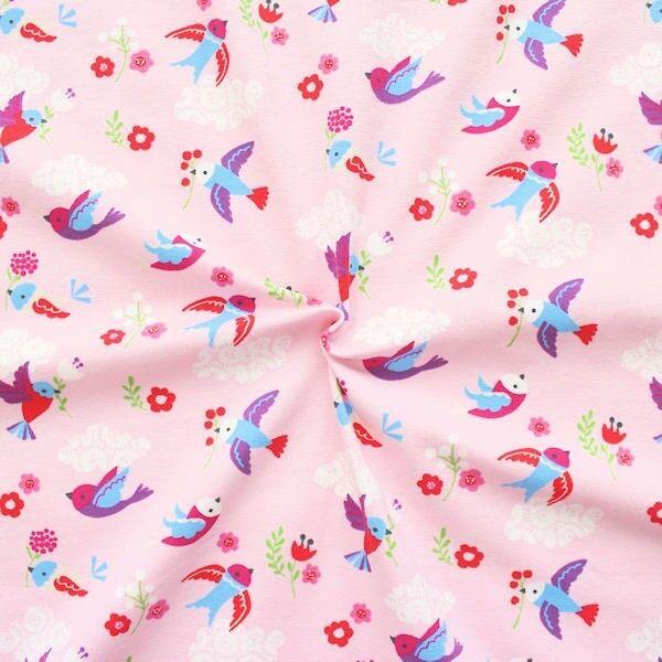 "Organic Baumwoll Stretch Jersey ""Kleine Vögel"" Farbe Hell-Rosa"