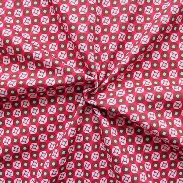 "100% Baumwollstoff ""Retro Wheel"" Farbe Pink"