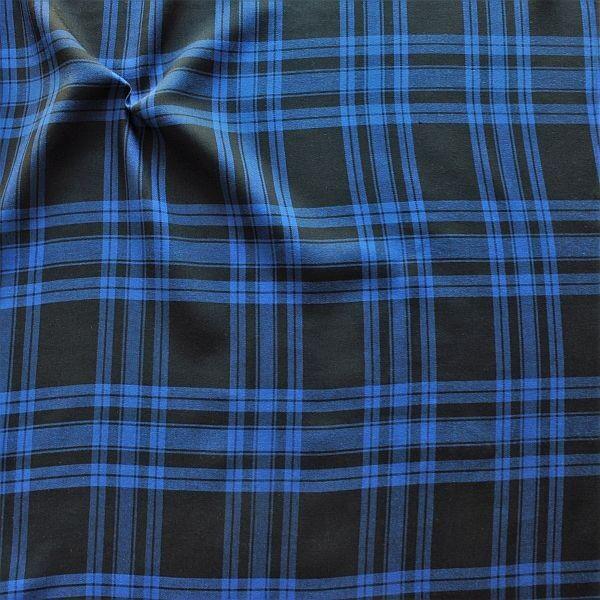 Baumwollstoff Blue Check Schwarz-Blau