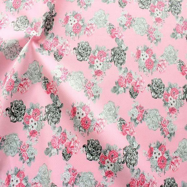 Baumwolle Popeline Landhaus Blumenranken Rosa