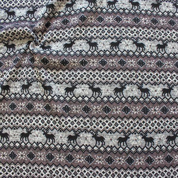Strick Fleece Norweger Style Grau-Taupe