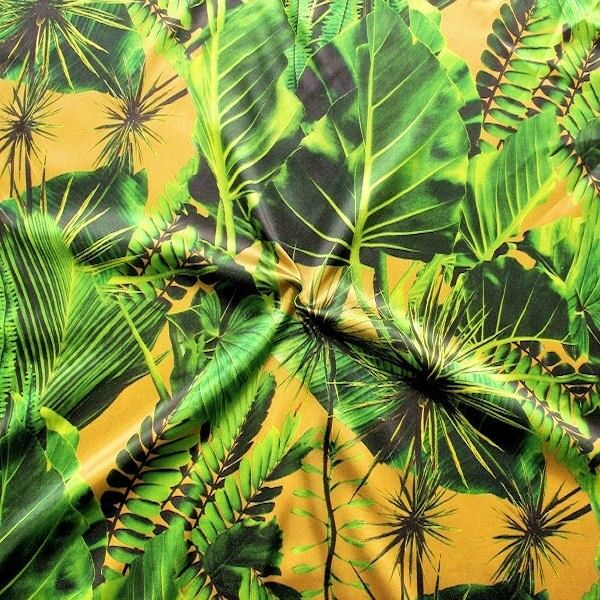 "Stretch Satin Stoff ""Tropenwald"" Farbe Gold-Gelb"