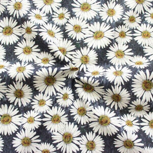 Dunkelblauer Stretch-Denim mit Blumenmuster