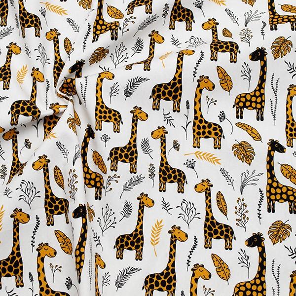 100% Baumwolle Popeline Giraffenfreunde Weiss