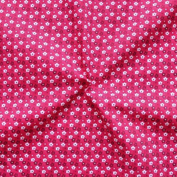 "100% Baumwollstoff ""Little Blossoms"" Farbe Pink"