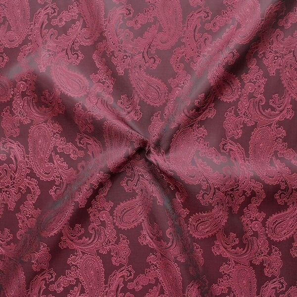 Futterstoff Jacquard Paisley Weinrot changierend