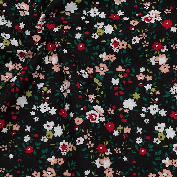 Baumwollstoff Popeline Kleine Blüten Schwarz