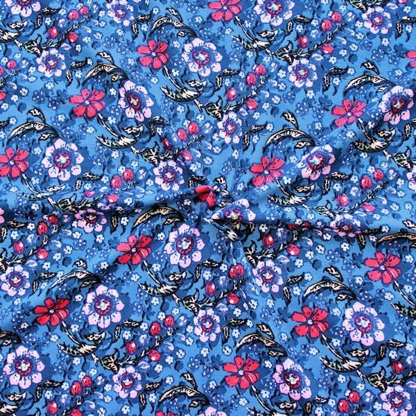 Viskose Stretch Jersey Flower Series Blau