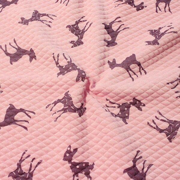 Modestoff Dekostoff Stepp-Optik Bambi Mix Rosa