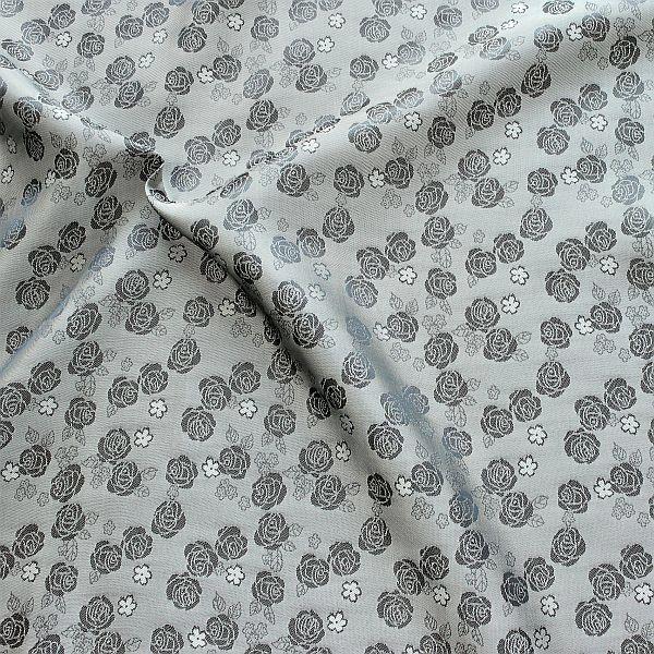 Futterstoff Jacquard Rosenblüten Silber-Grau