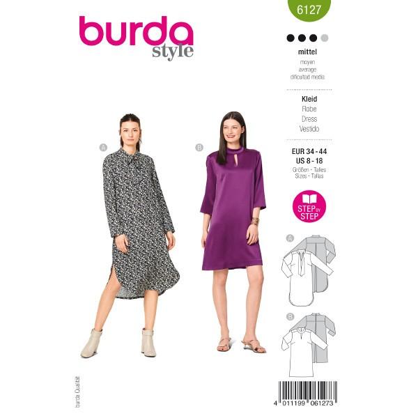 Locker geschnittene Kleider, Gr. 34 - 44 Schnittmuster Burda 6127