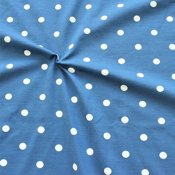 Baumwoll Stretch Jersey Classic Dots Jeans-Blau Weiss