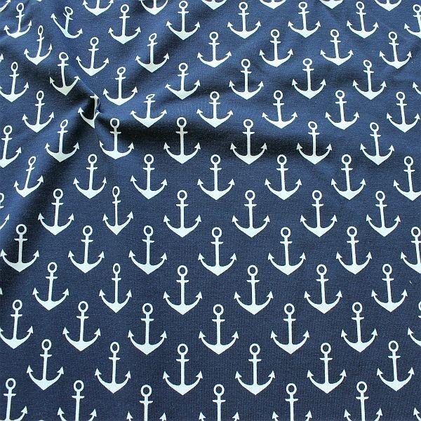 Sweatshirt Baumwollstoff French Terry Anker Groß Navy-Blau