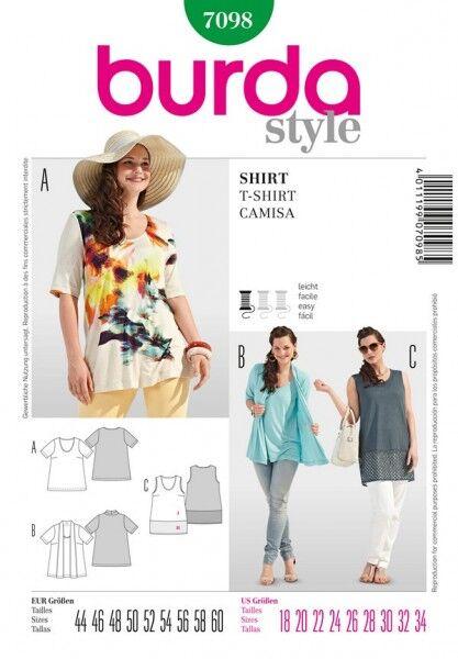 Shirt/ Top – Two in One, 44 - 60, Schnittmuster Burda 7098