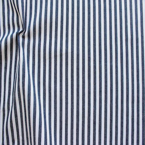 Baumwolle Denim Jeans Stoff Streifen Mittel Dunkel-Blau Weiss