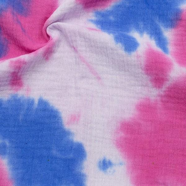 100% Baumwolle Musselin Double Gauze Batik Look Blau-Pink
