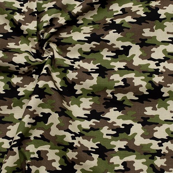Baumwollstoff Popeline Camouflage Grün-Braun