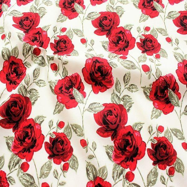 Baumwollstoff Rote Rosen Ecru