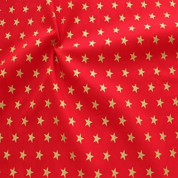 100% Baumwolle Popeline Gold Sterne Rot