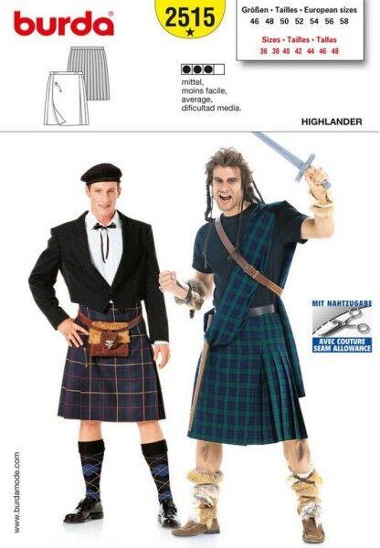 Highlander Kilt, Schottenrock, Gr. 46 - 58, Schnittmuster Burda 2515