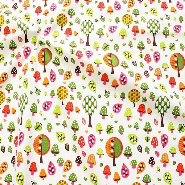Baumwollstoff Waldfreude Weiss-Multicolor