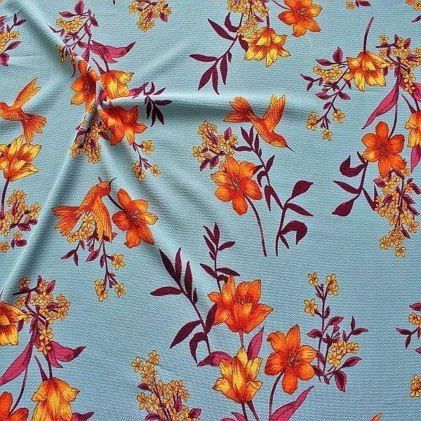 Crêpe Chiffon Blüten mit Kolibri Tauben-Blau