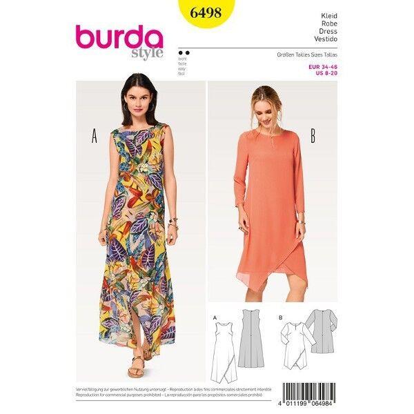 Kleid - doppellagig - Wickeleffekt, Gr. 34 - 46, Schnittmuster Burda 6498