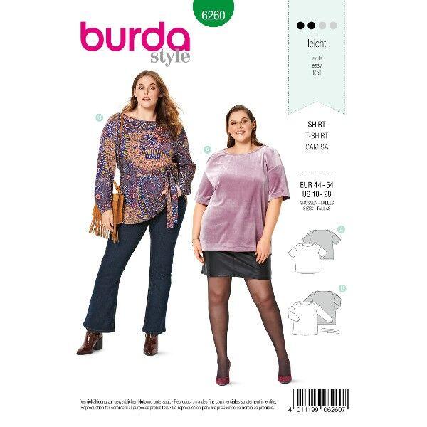 Shirt – Tunika – Falten an den  Schultern, Gr. 44 - 54, Schnittmuster Burda 6260