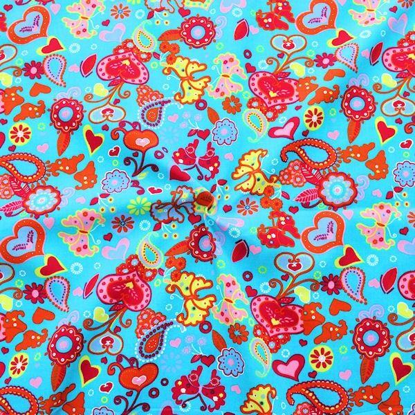 Baumwolle Popeline Heartbeat Butterfly Mix Capri-Blau