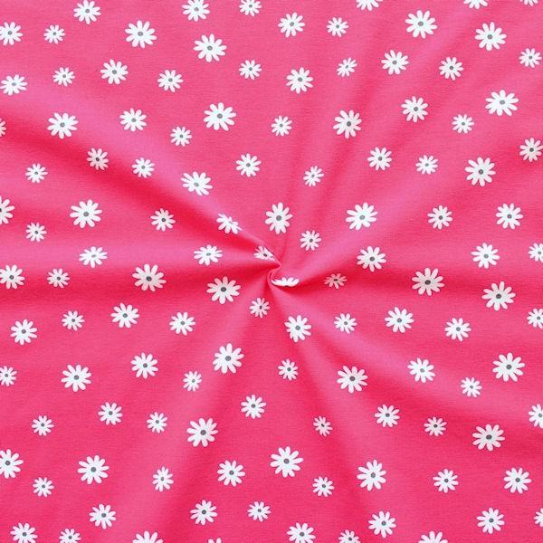 "Baumwoll Stretch Jersey ""Blümchen 9"" Farbe Pink"