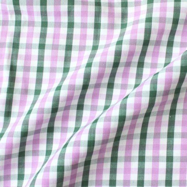 """Baumwollstoff Hemden Qualität """"Fashion Karo"""" Farbe Grün-Weiss-Flieder"""