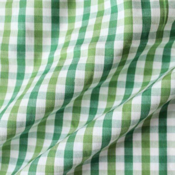 """Baumwollstoff Hemden Qualität """"Fashion Karo"""" Farbe Weiss-Grün"""