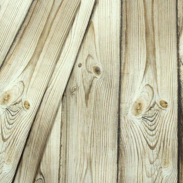 Dekostoff Digital Druck Holzwand Braun-Beige