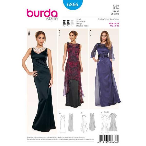 Abendkleid – Überkleid – transparent, Gr. 36 - 48, Schnittmuster Burda 6866