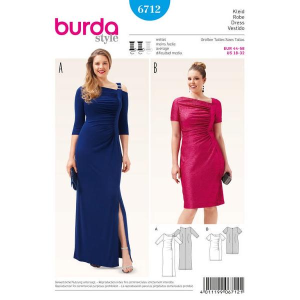 Kleid – Abendkleid – einseitige Raffung, Gr. 44 - 58, Schnittmuster Burda 6712