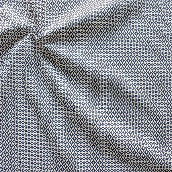 Baumwollstoff Modern Blossom Dunkel-Blau Weiss