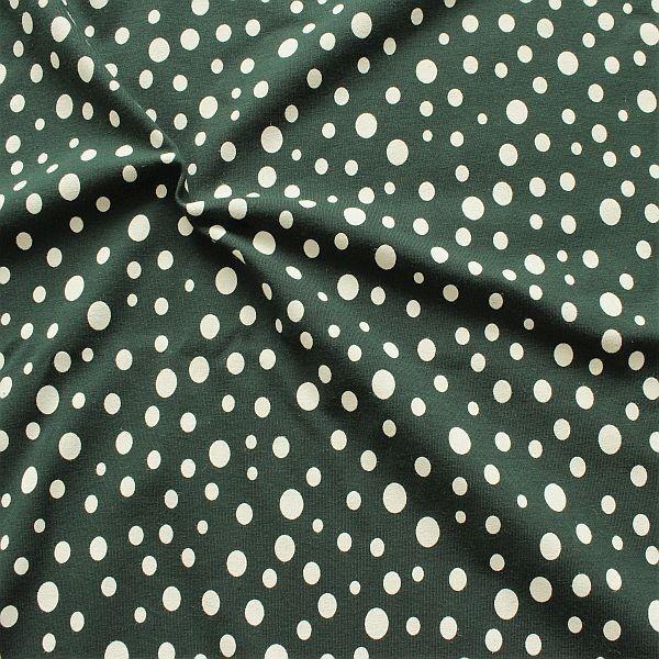 Baumwoll Stretch Jersey Tupfen Mix Dunkel-Grün