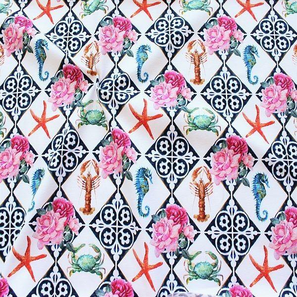 Baumwoll Stretch Jersey Maritim Vintage Mix Weiss-Multicolor