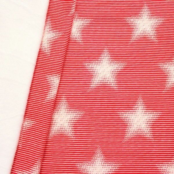 "Sweatshirt Baumwollstoff ""Ringel & Sterne"" Farbe Rot-Weiss"