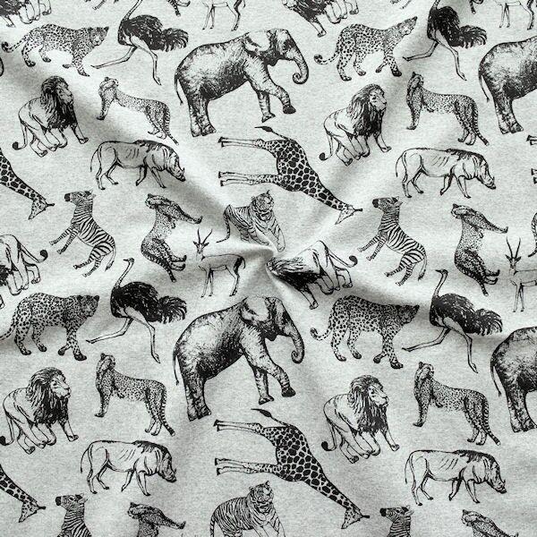 Grau melierter Sweatshirt French Terry 'Afrikas Tiere'