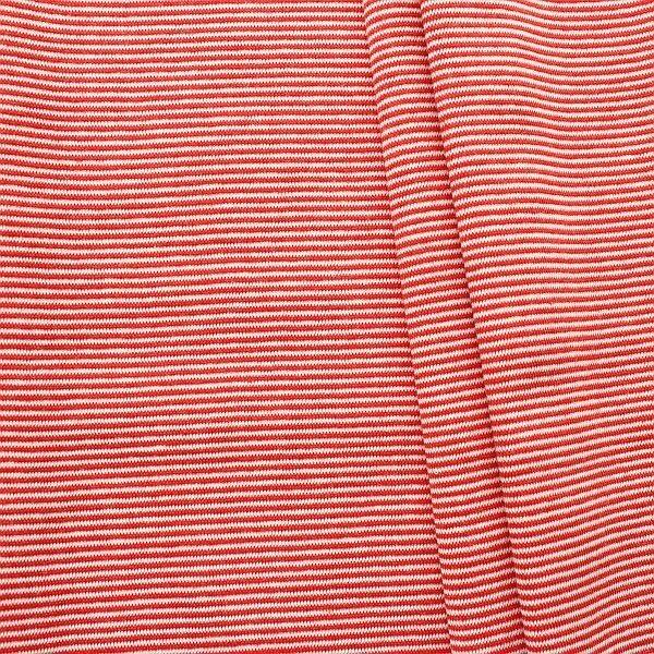 Baumwoll Bündchenstoff Ringel Mini glatt Rot-Weiss