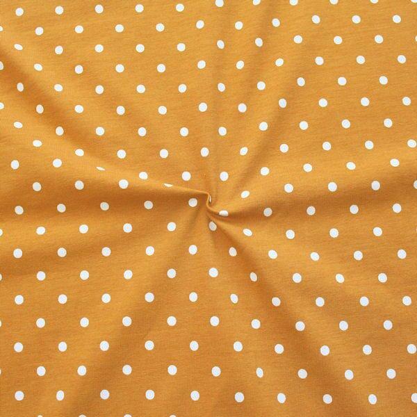 Baumwoll Stretch Jersey Classic Dots Ocker-Weiss
