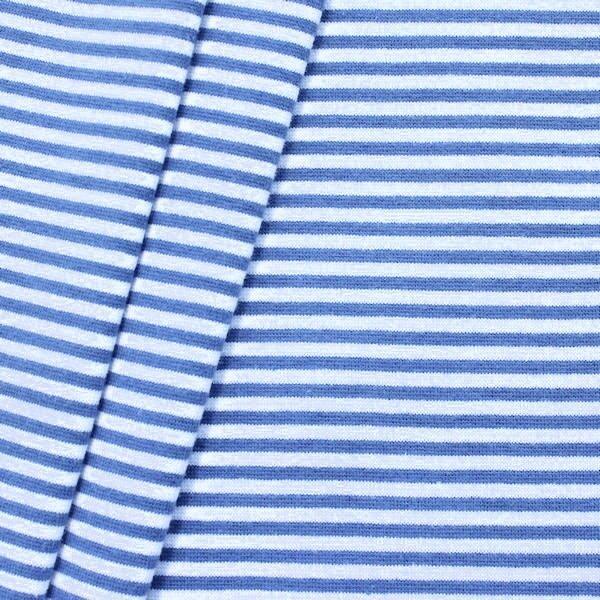 Baumwoll Bündchenstoff Ringel glatt Royal-Blau Weiss